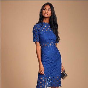 Heartfelt Blue Lace Bodycon Midi Dress LuLu's